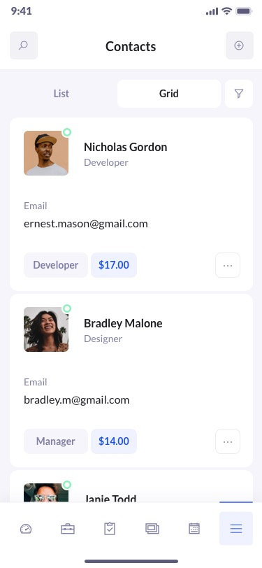 betacrm preview contacts mobile