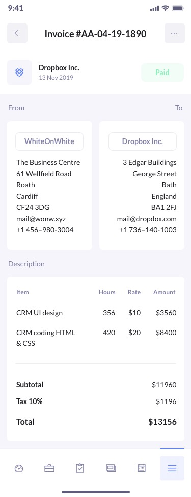 betacrm invoices preview mobile