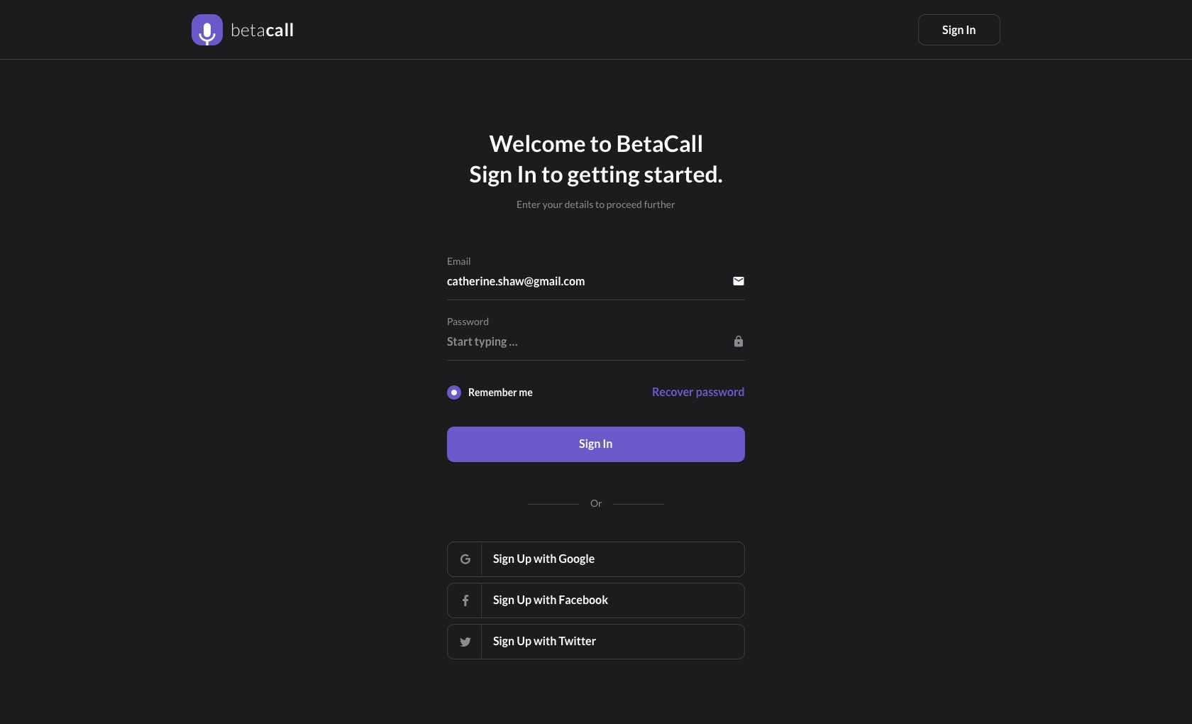 BetaCall Login Pages