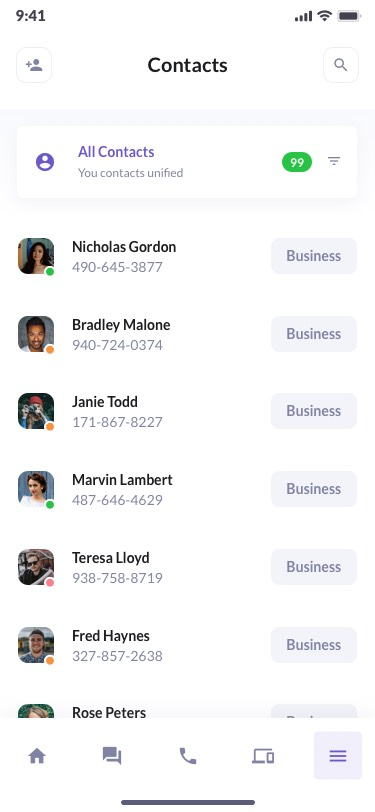 BetaCall Contacts List