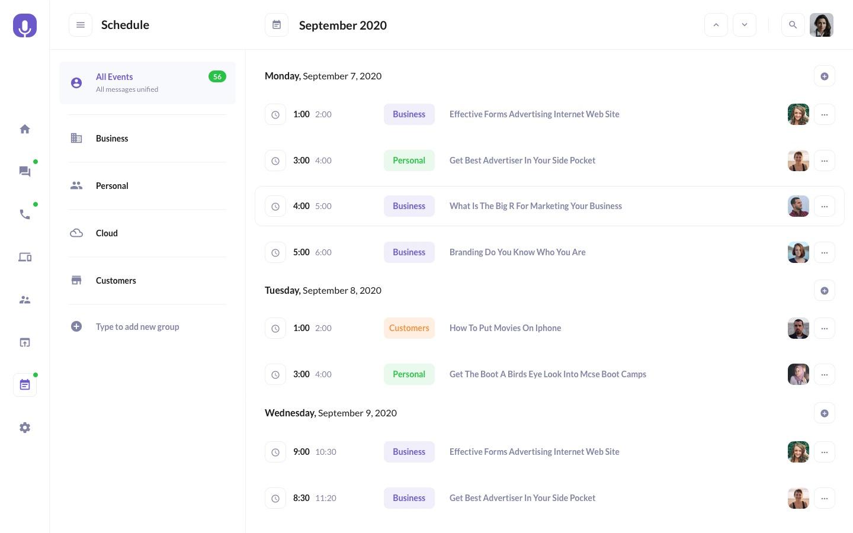 Calendar Schedule Preview