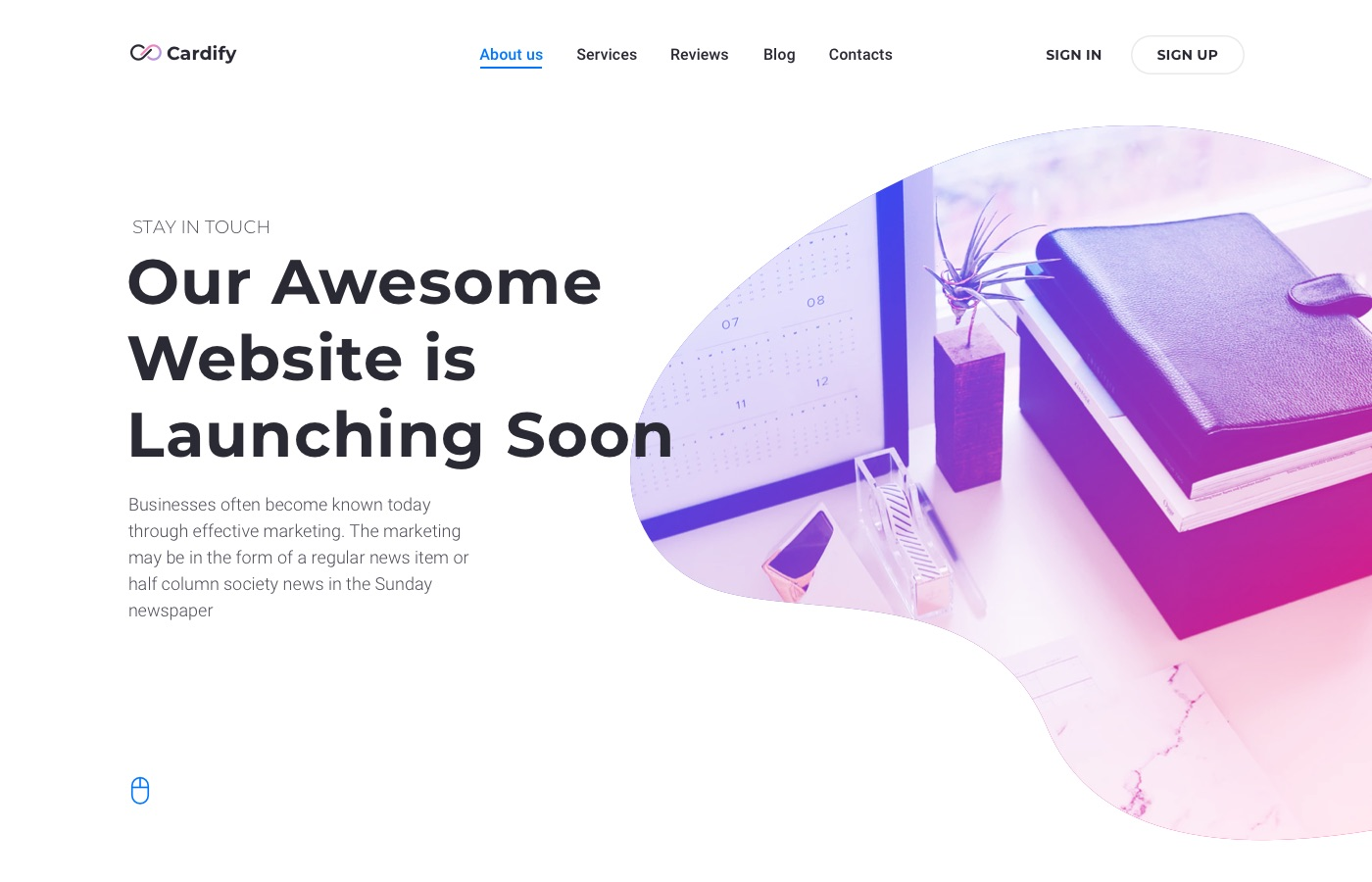 cardify corporate landing page