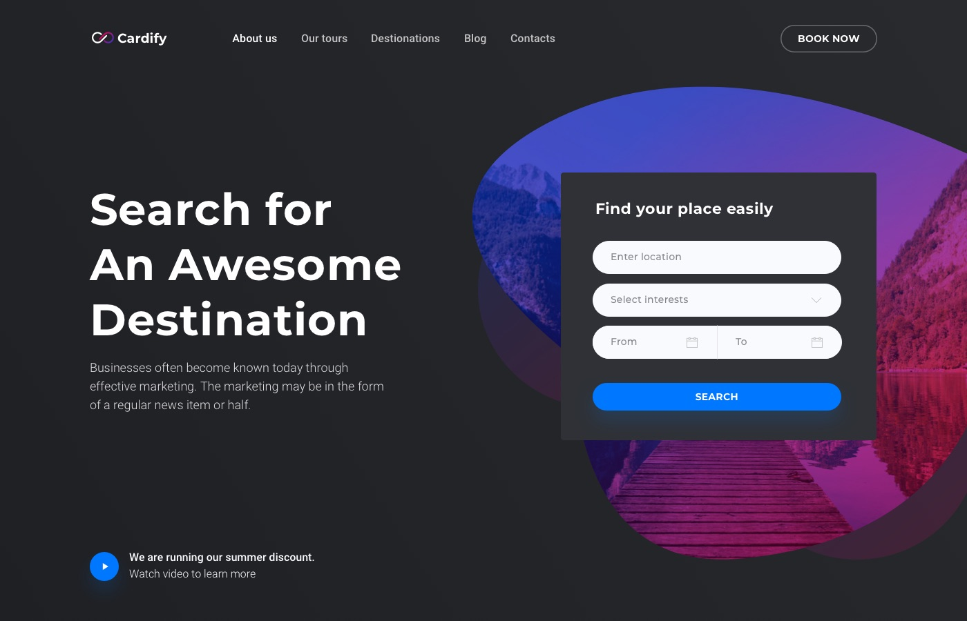 cardify travelling landing page