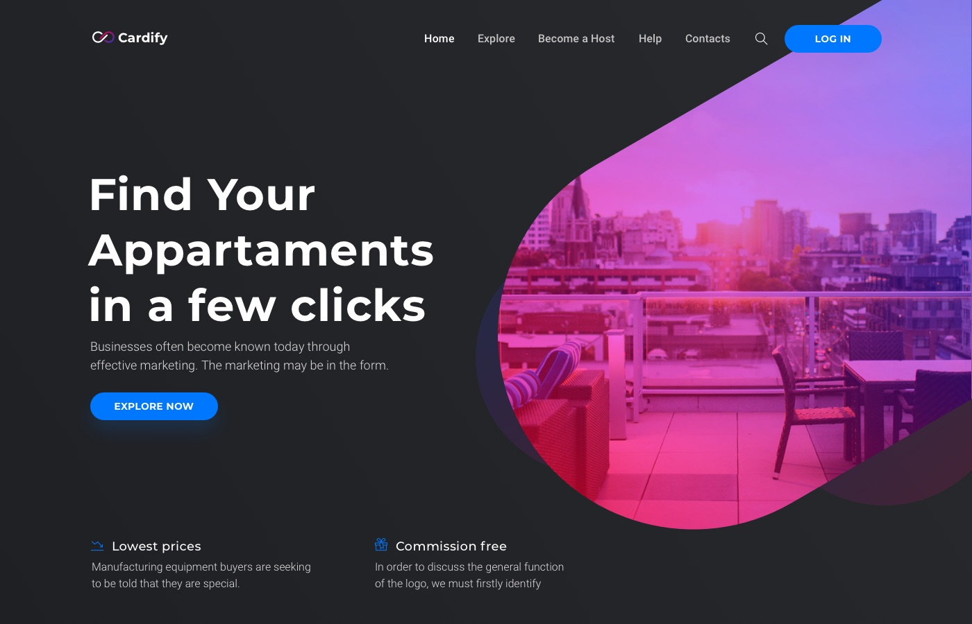 cardify real estate landing page