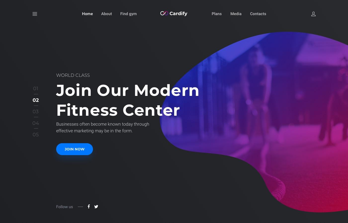 cardify gym landing page