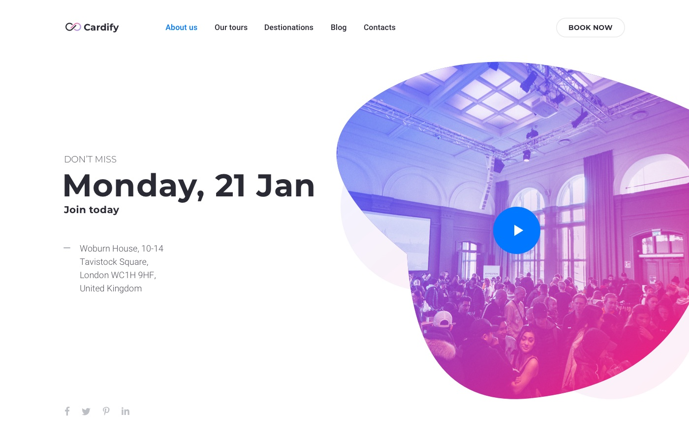 cardify event landing page