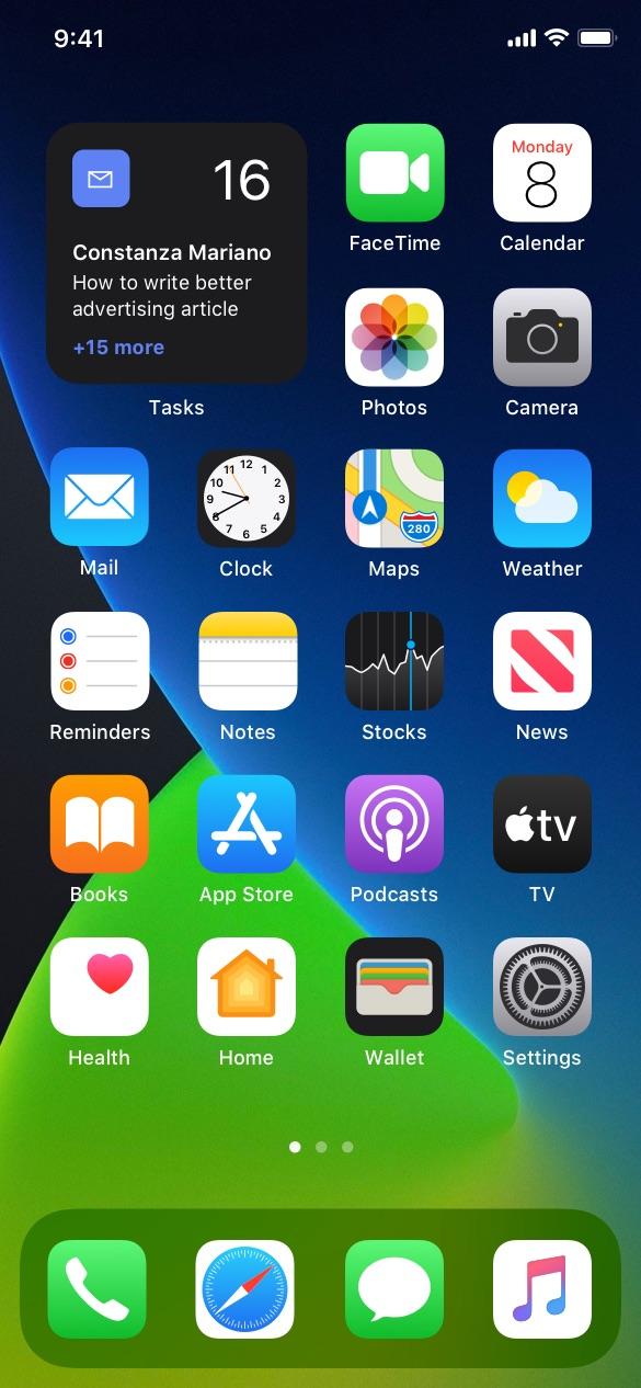 mail app ios widgets