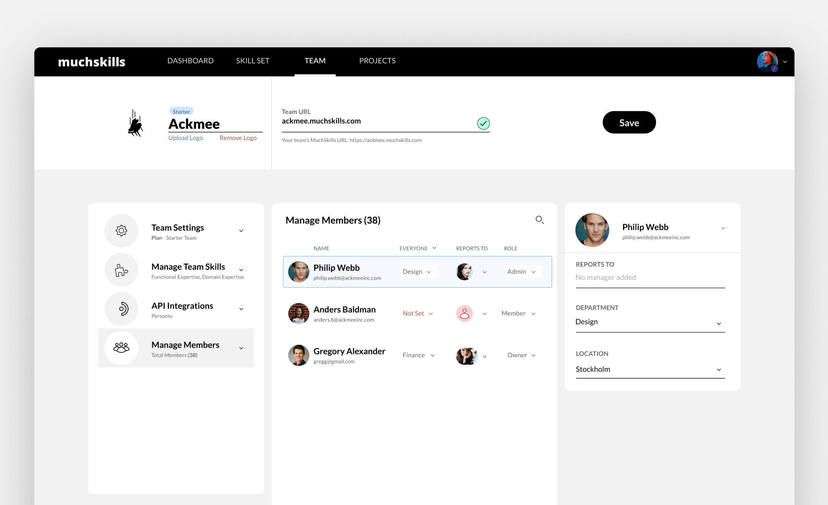Manage your team members from one place on MuchSkills