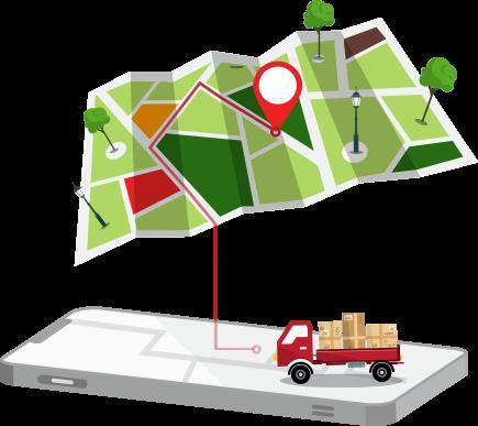 Celular paquetes camion mapa