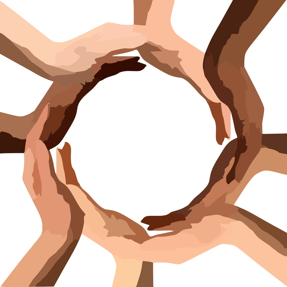 Picture of different hands forming a circle