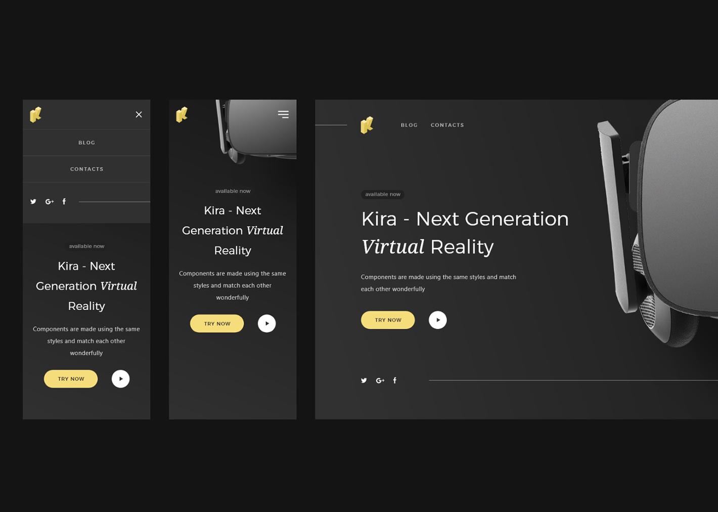Modern site with dark UI