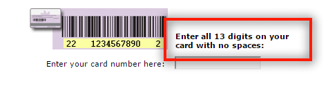 Instruction for credit card entry