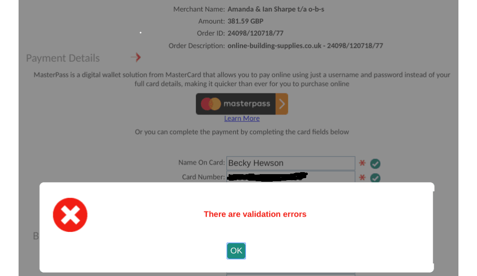 form validation errors