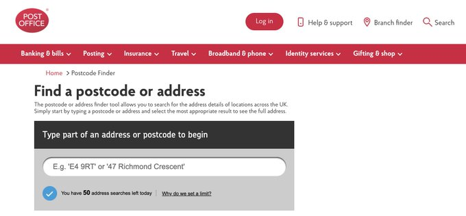 Post Office Placeholder Example