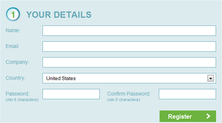 The Formisimo registration form before the changes