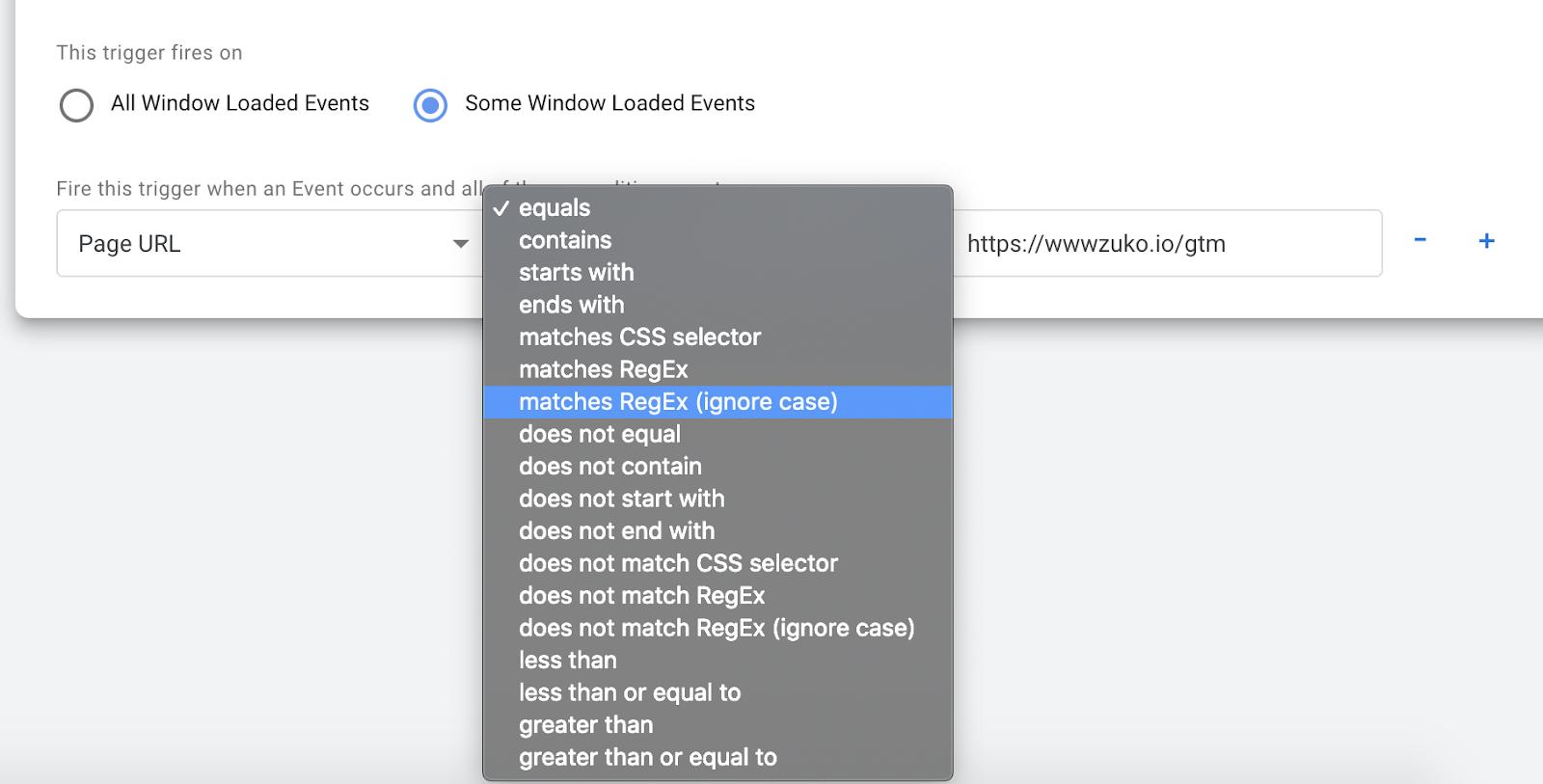 Google Tag Manager Matching Rules Screenshot