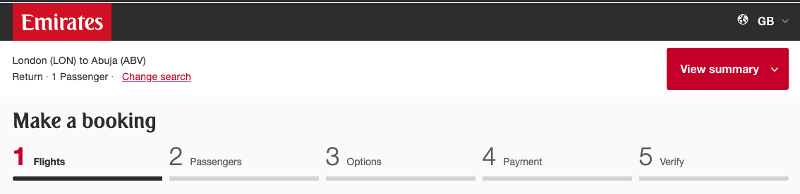Progress Bar from Emirates Booking Form