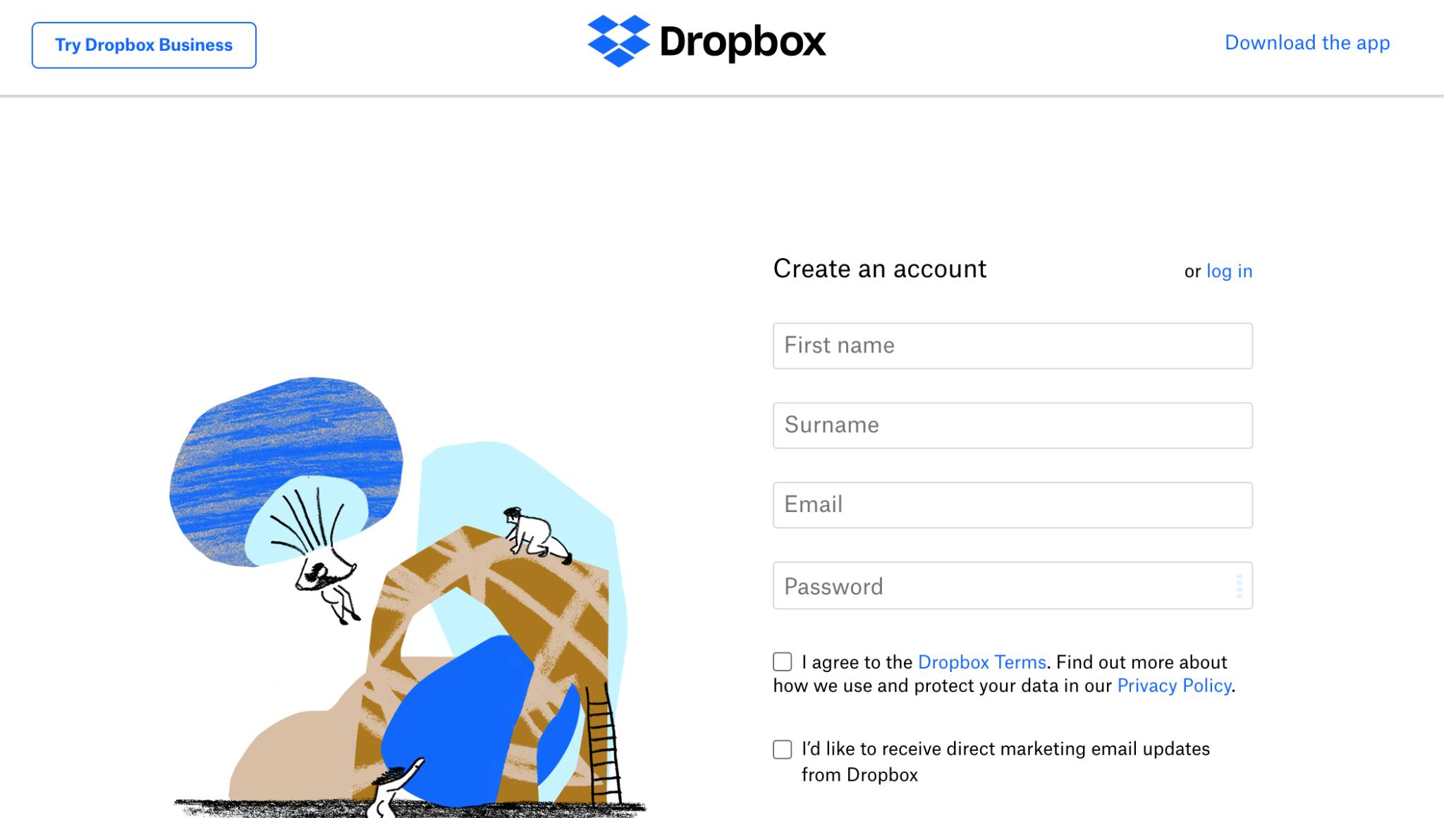 Dropbox Registration Form Image