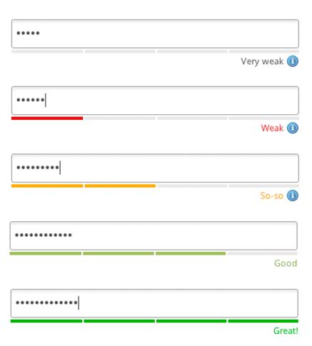 Password strength visualisation