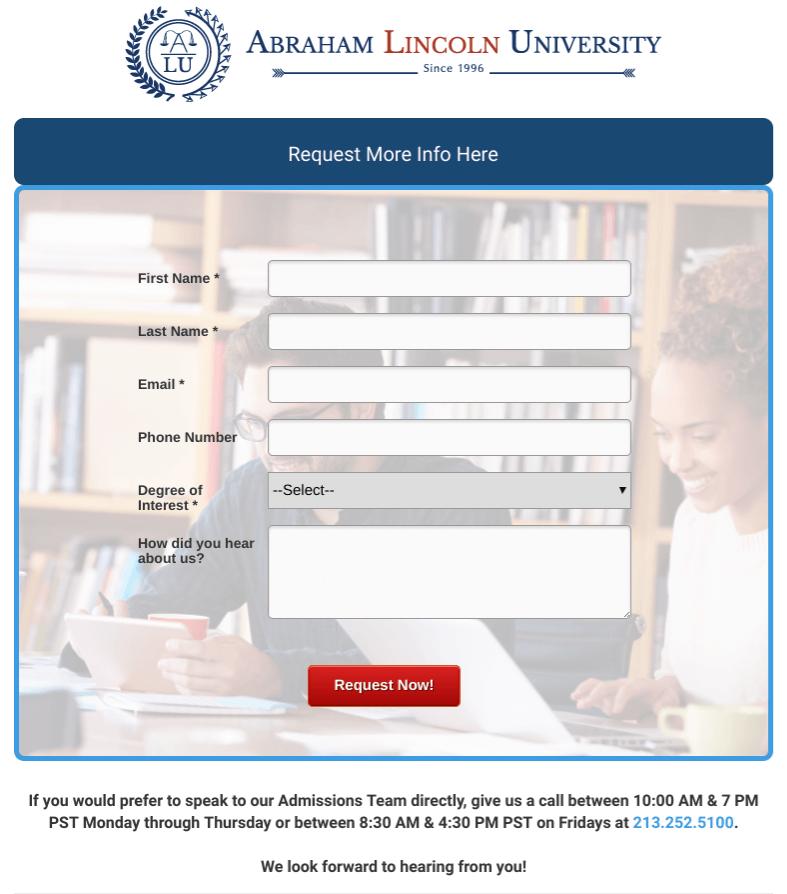 Image of a simple university registration form