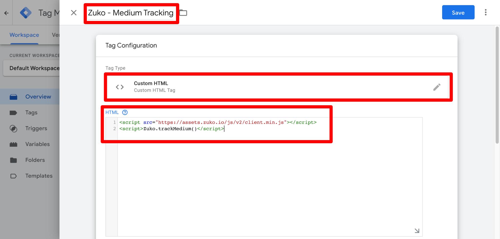 Screenshot of Zuko Medium Tracking Tag in GTM