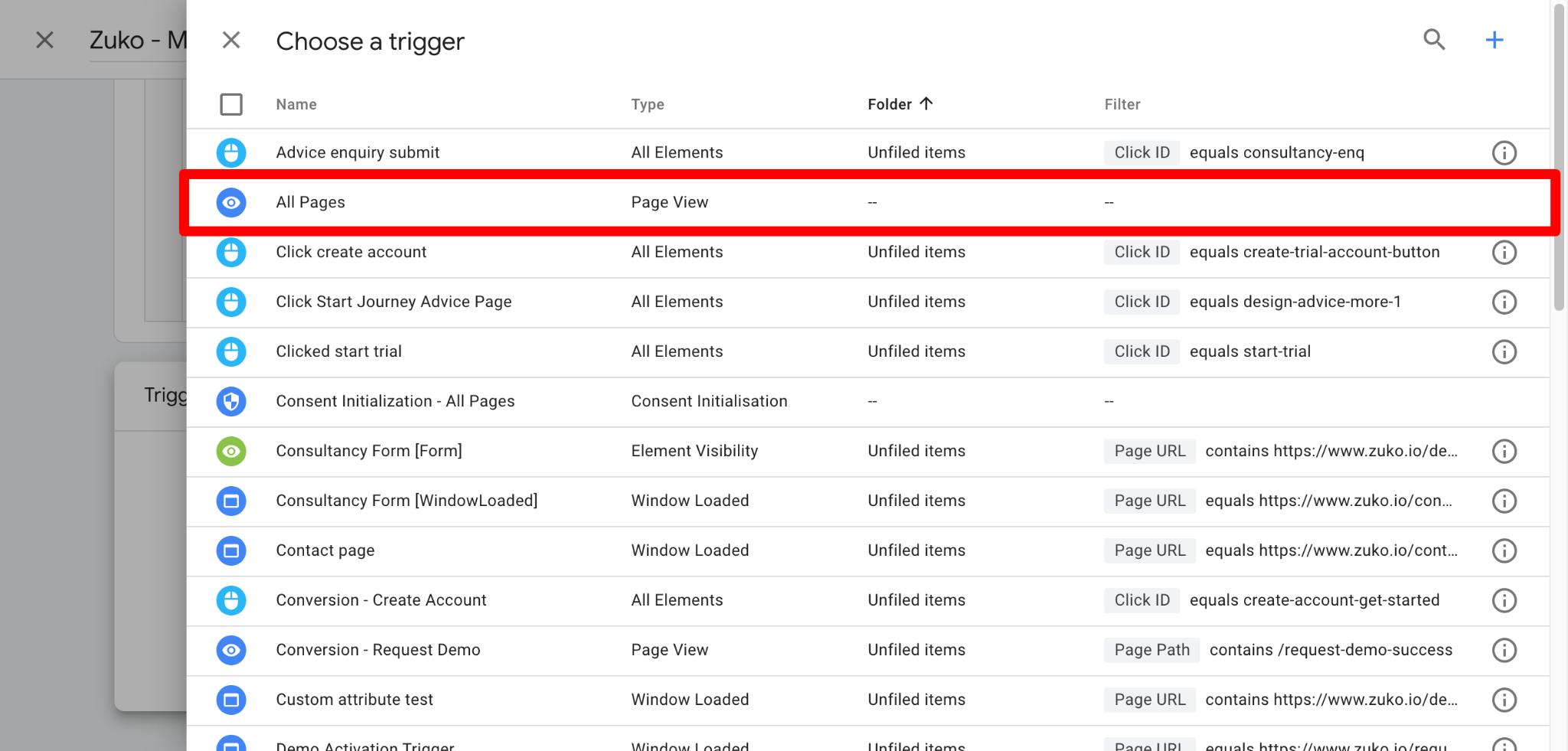 Screenshot of Zuko Medium Tracking Trigger