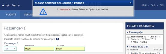 Insurance error message