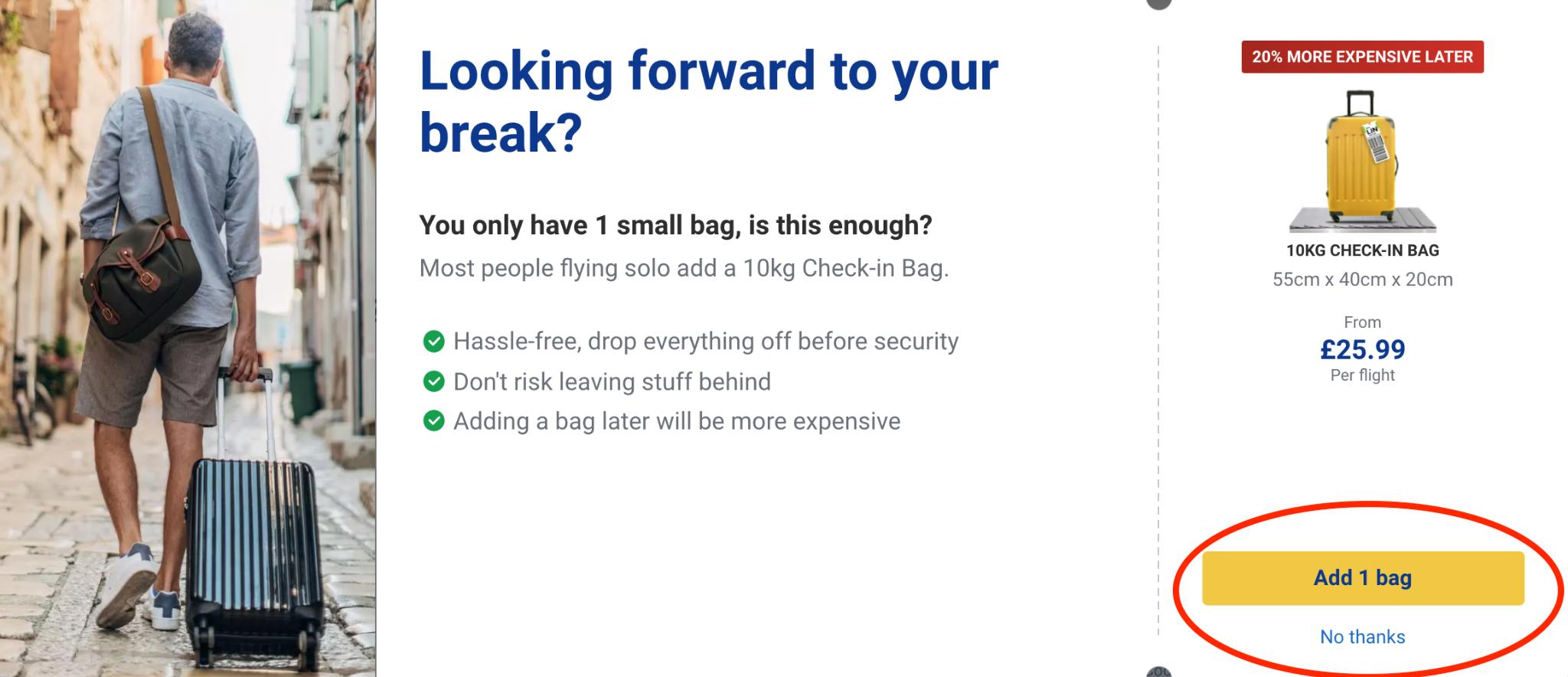 Dark UX check-in bags