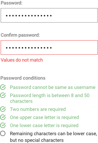 Example of using confirm password in a web form