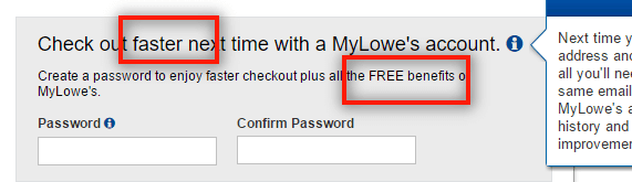 An example of persuasive microcopy on a checkout from Lowes
