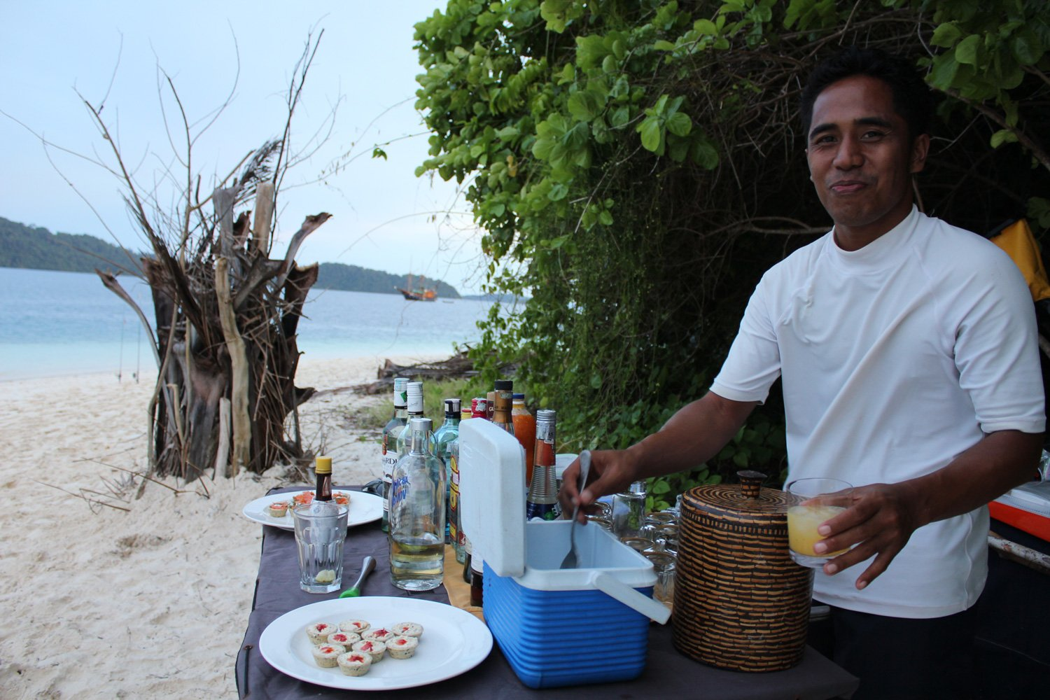 Our barman preparing some beach cocktails