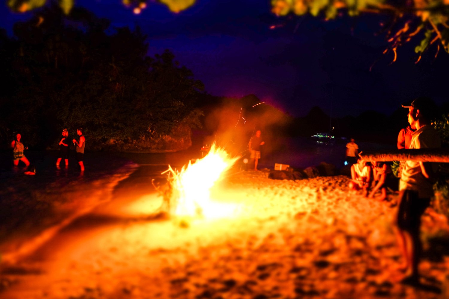 Enjoy evenings eat, drinking and dancing around a beach fire