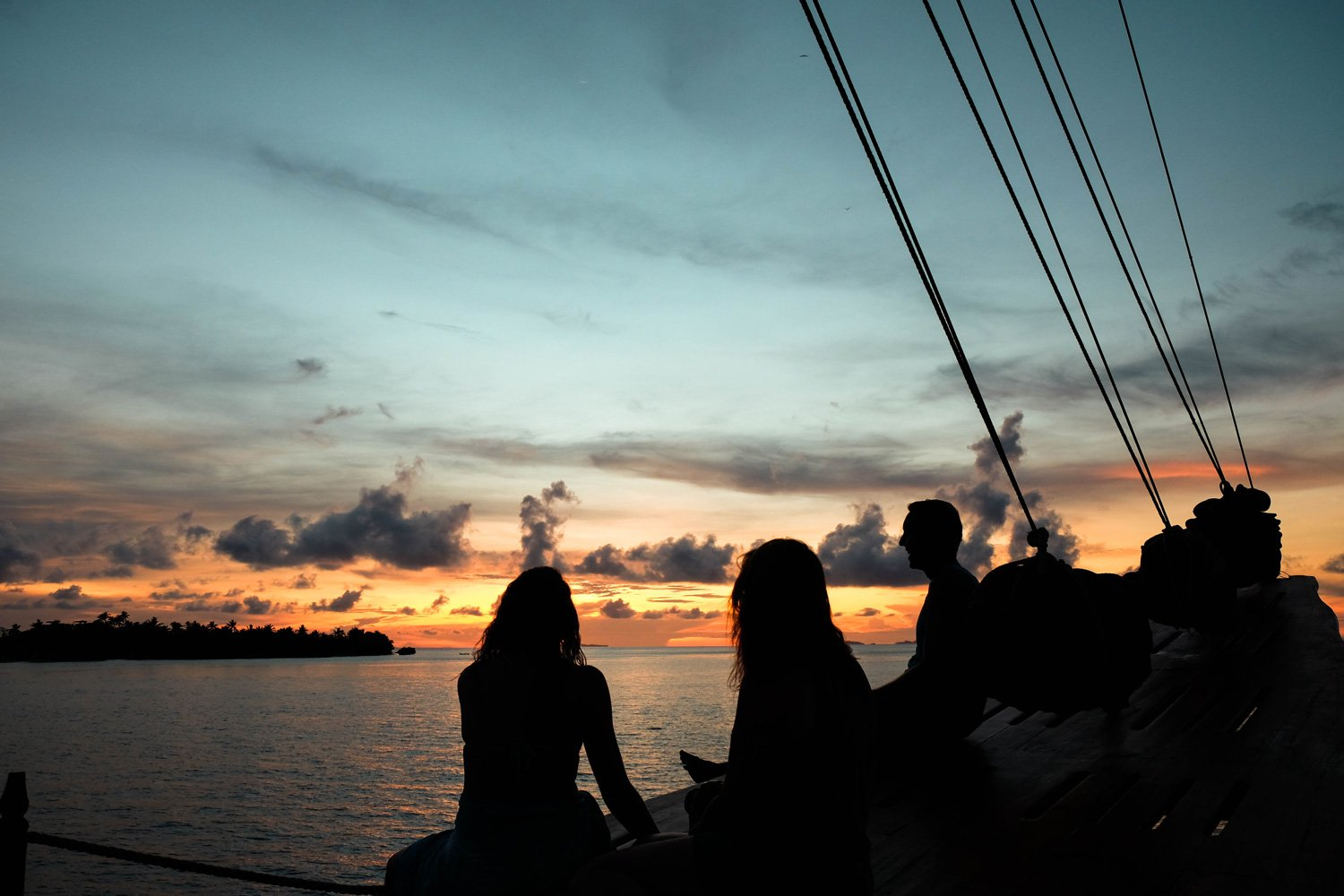 Enjoying and Indonesian Sunset on the main deck of Tiger Blue