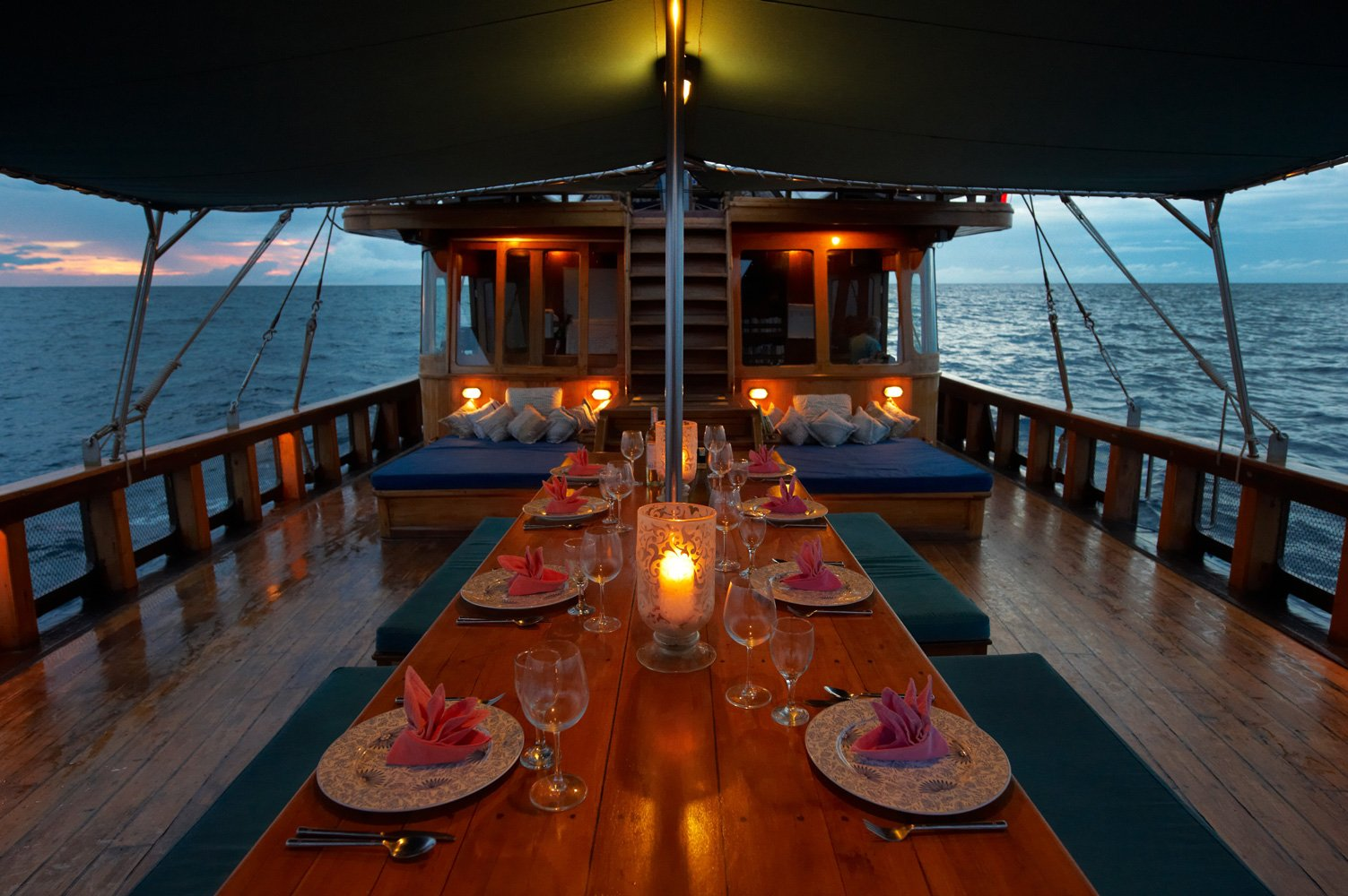 Tiger Blue's main deck all setup for Dinner