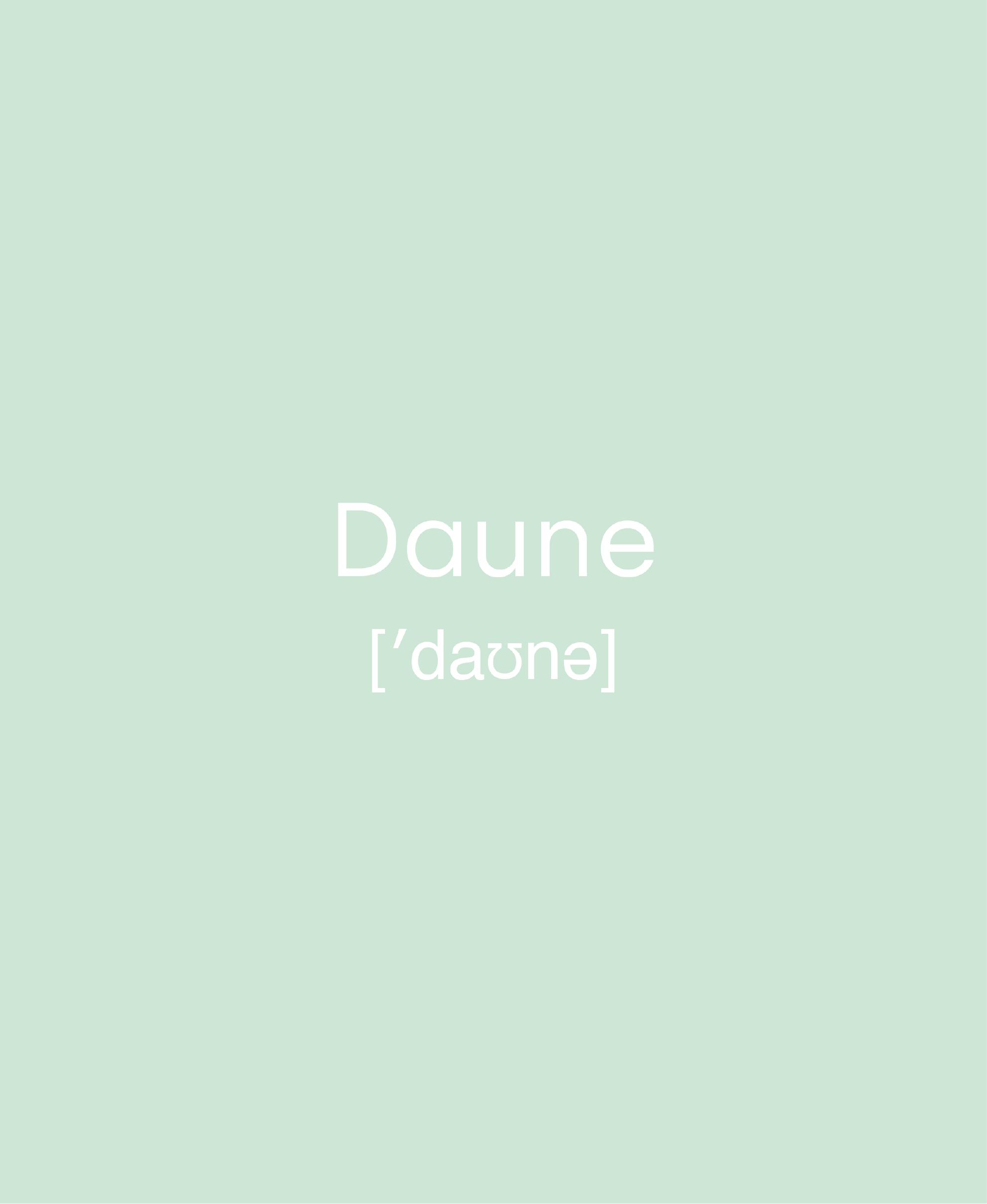 """weiße Schrift auf mintfarbenen Hintergrund """"Daune"""" Lautschrift"""