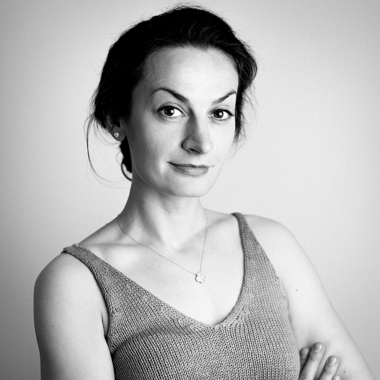 Black and white image of Emi Lorincz