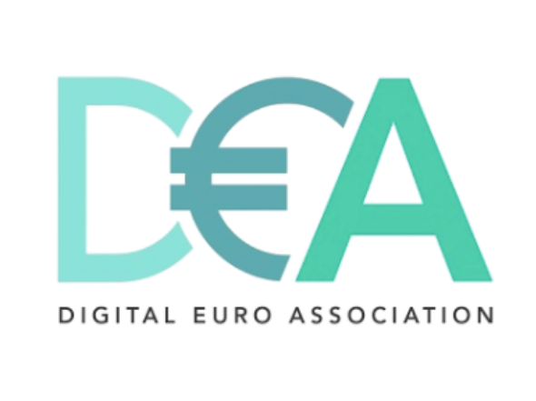 The DEA in blue and green colours with the E as a Euro symbol over 'The Digital Euro Association'.