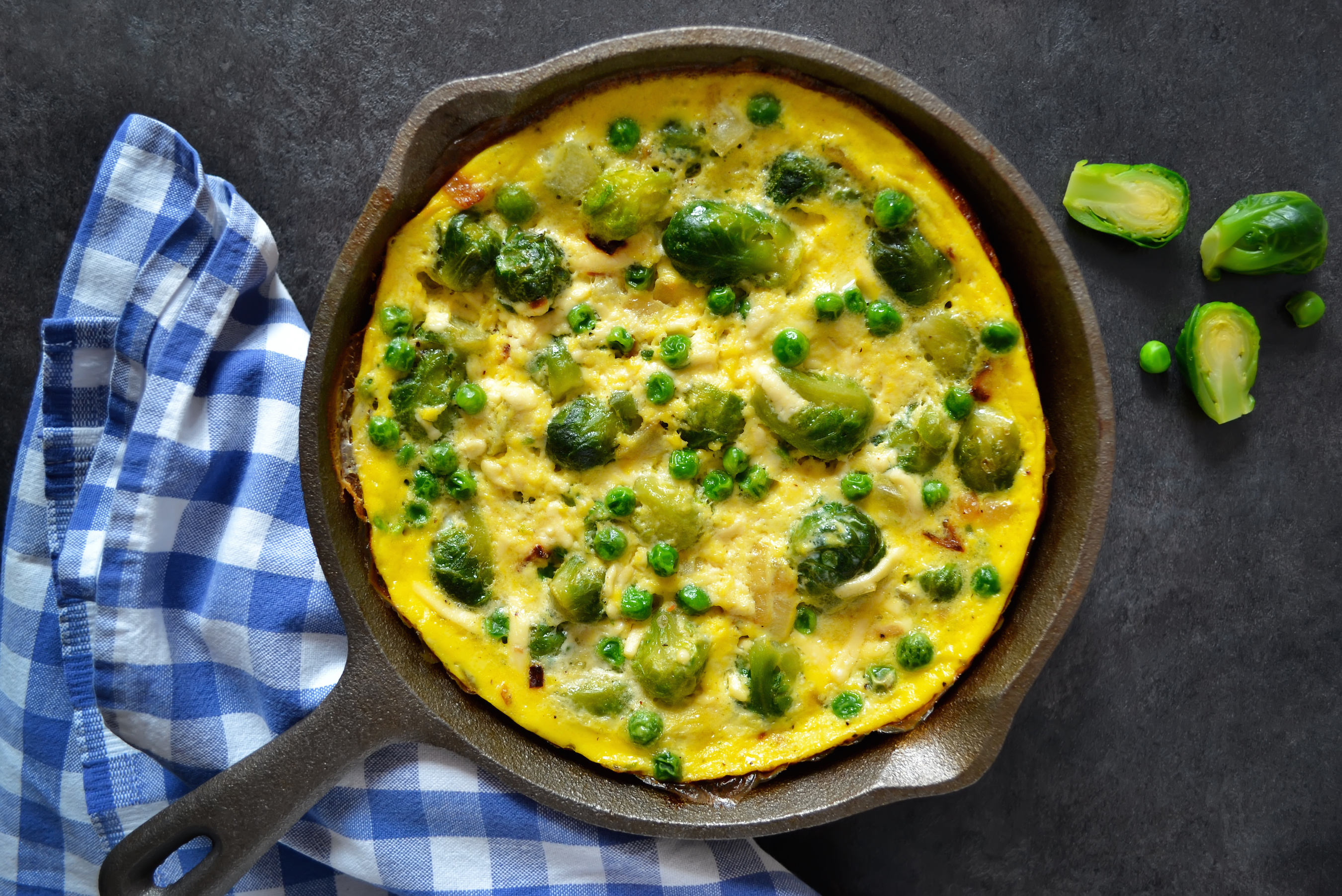 Leftover Brussels Sprout and Pea Frittata