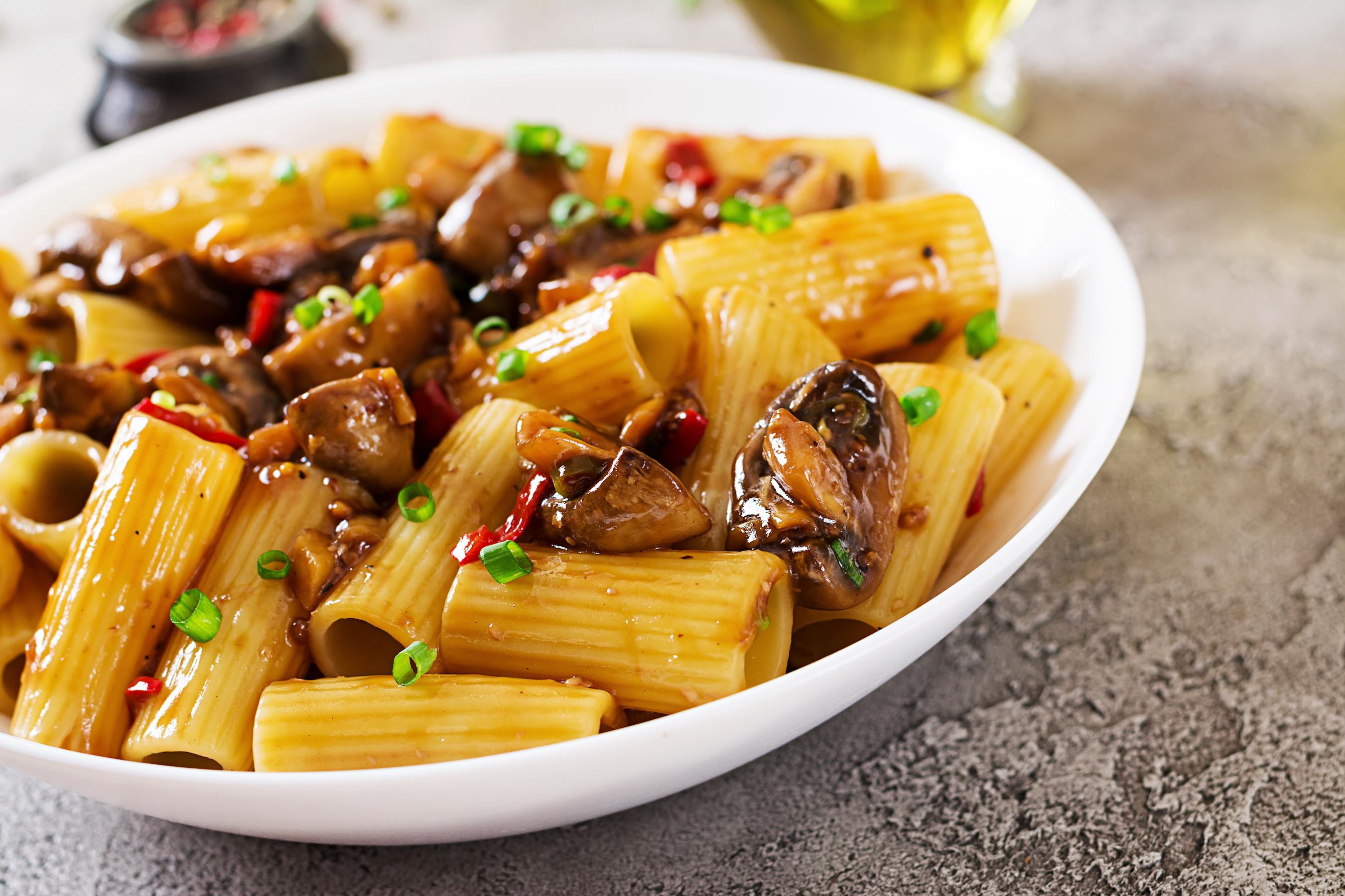 Pasta Rigatoni with Miso Chilli Mushrooms