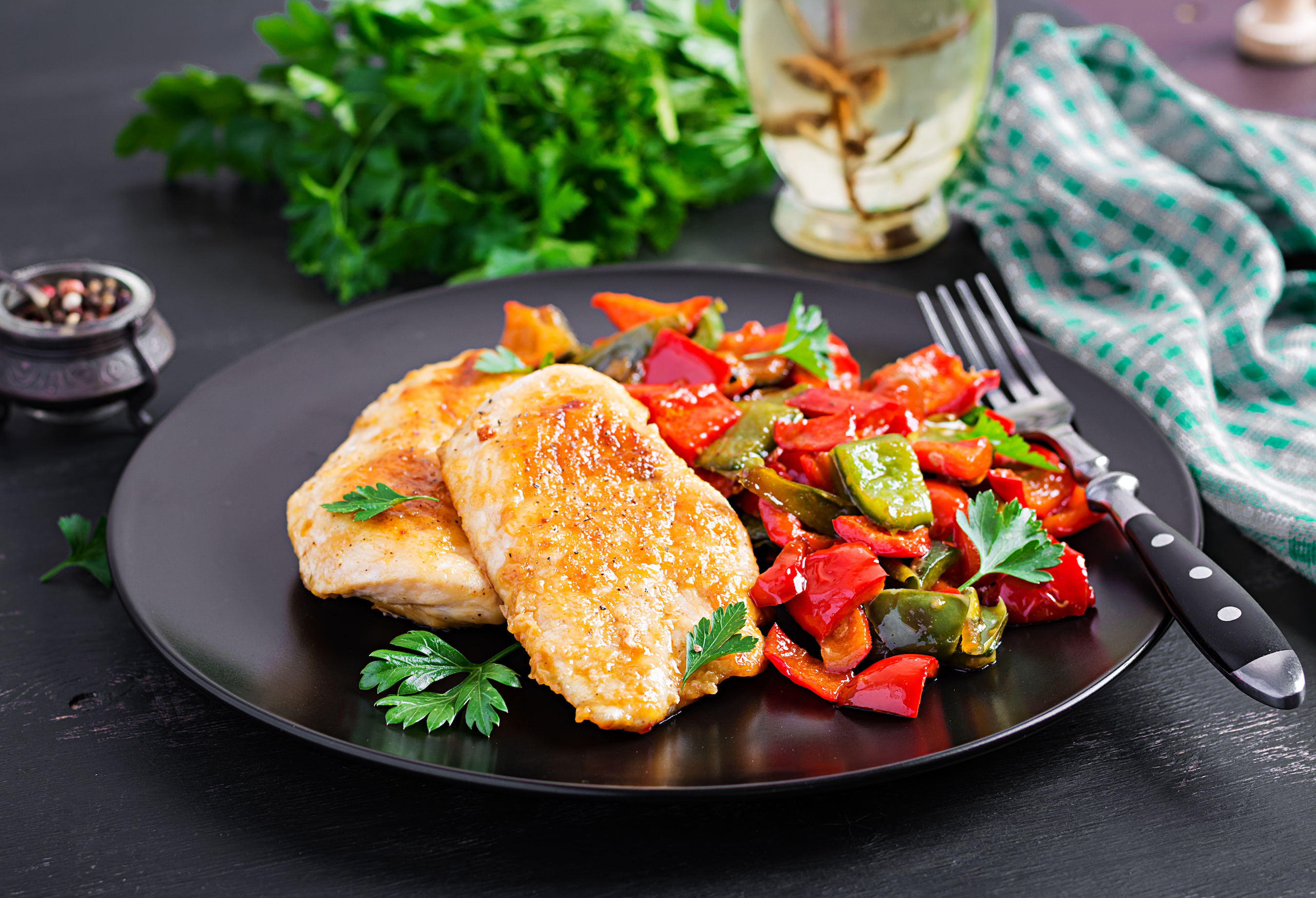 Miso glazed Quorn fillets with mixed peppers