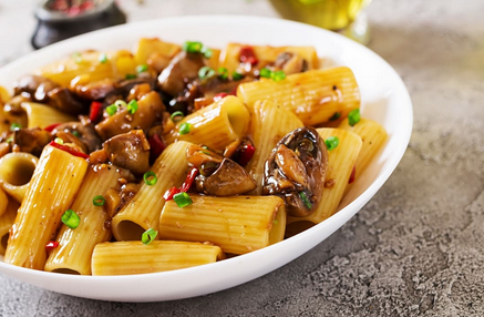 Pasta Rigatoni with Miso Chilli Mushrooms