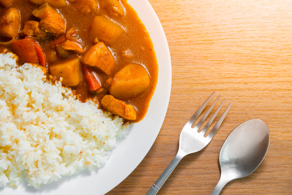 Tofu and sweet potato curry with rice