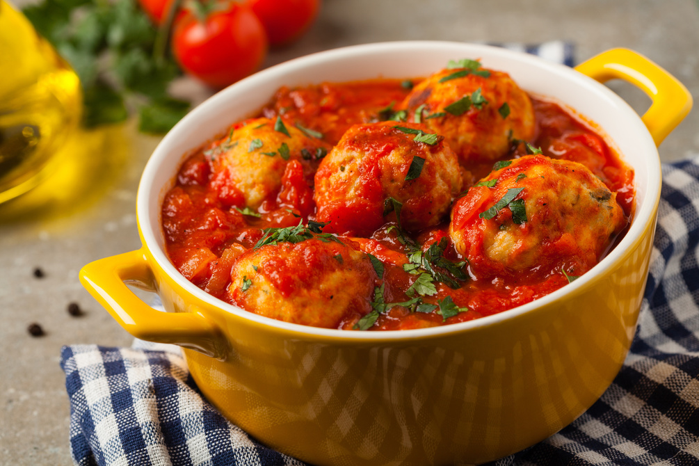Cheats beet sausage meatballs with a spicy tomato sauce
