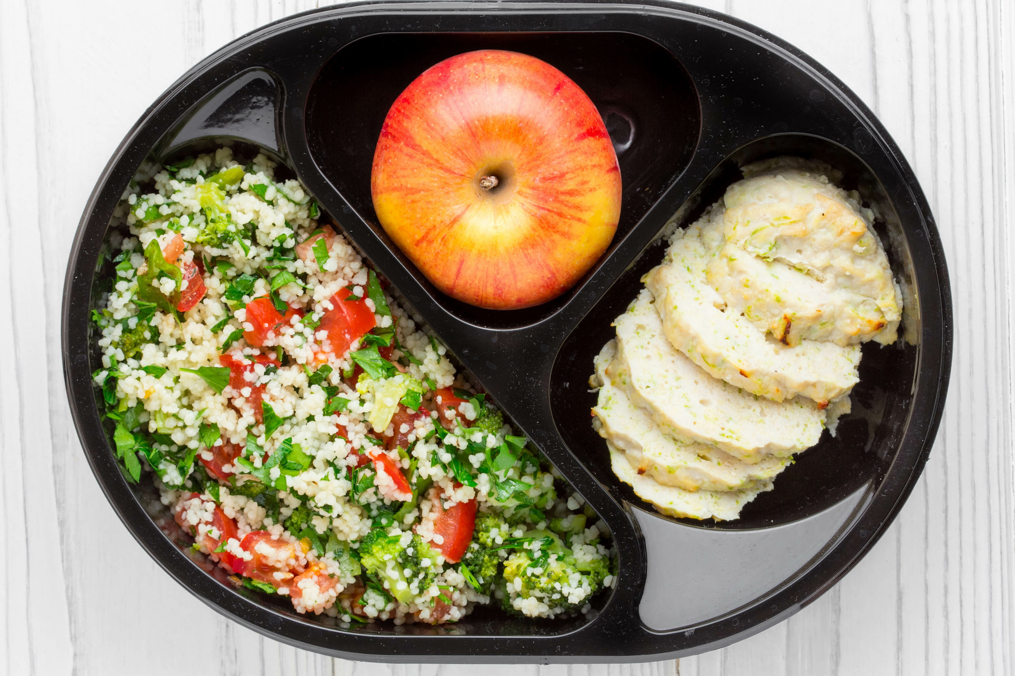 Minty vegetable couscous with herby seitan lunchbox