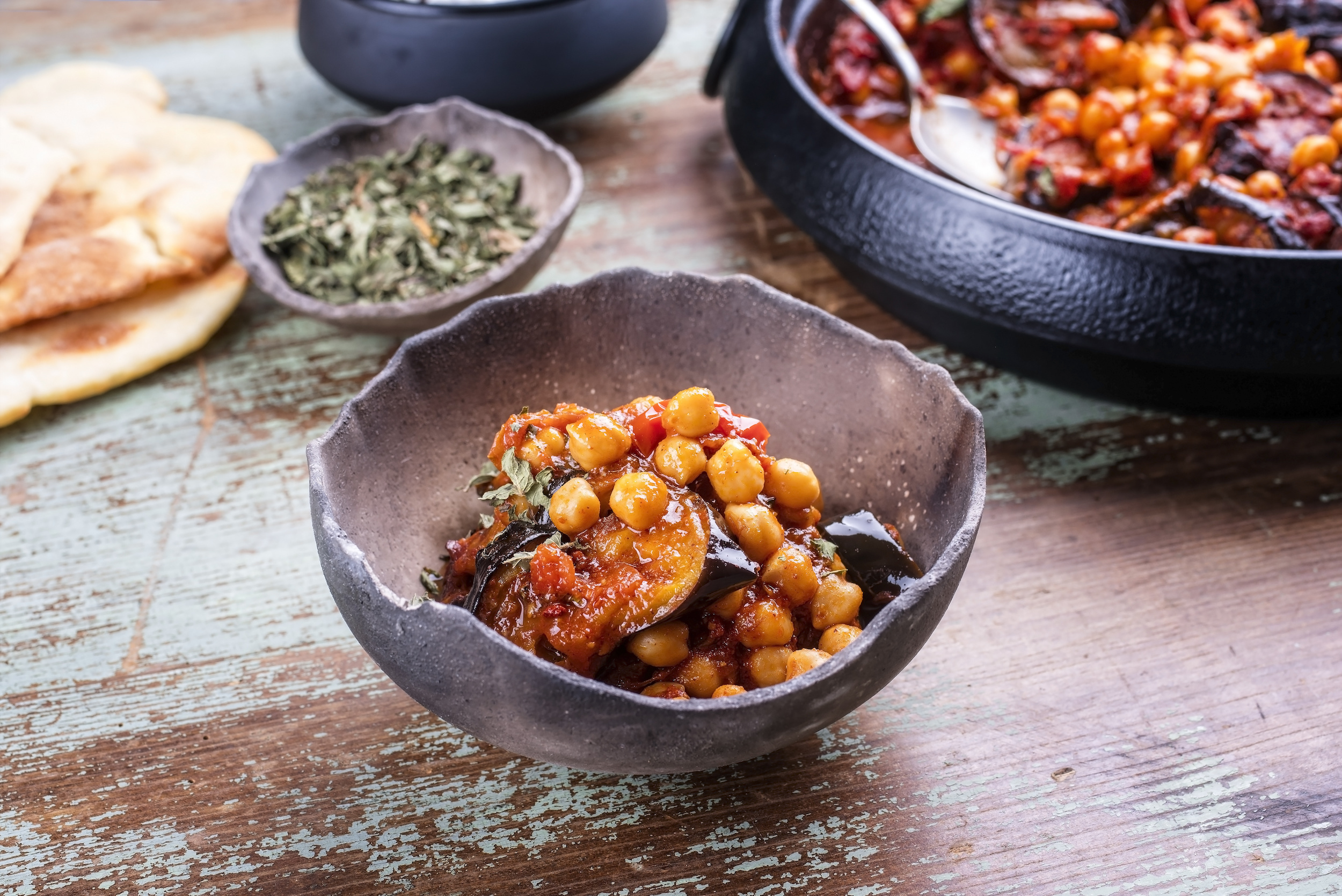 Maghmour - aubergine and chickpea stew