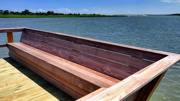Detail image of custom hardwood construction - residential dock builder