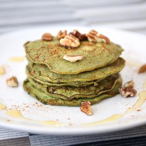 Homemade matcha pancakes