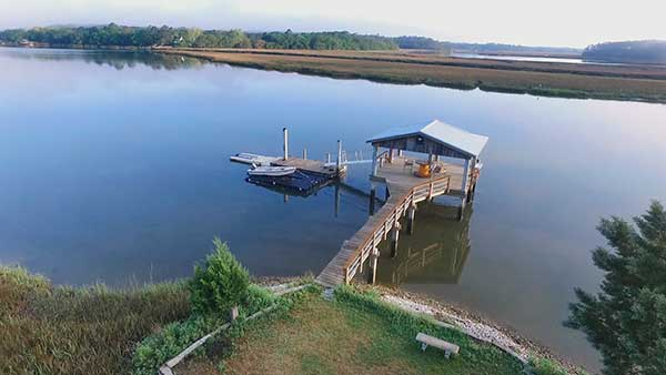 Residential Dock with Concrete Piling Wadmalaw Island