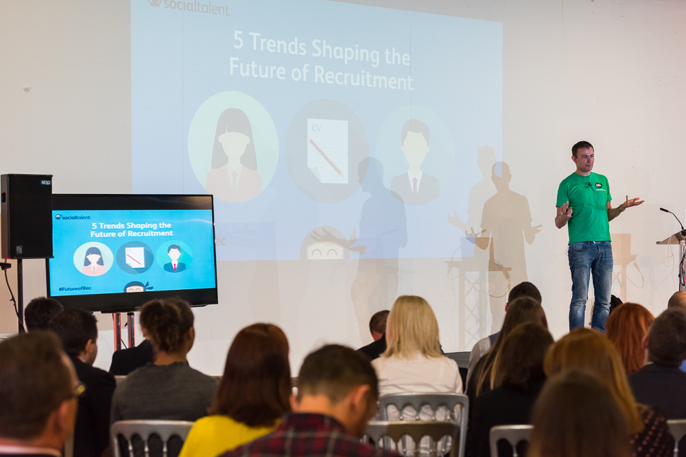 Jonny Campbell speaks at the Firefish Software Future of Recruitment event in 2016