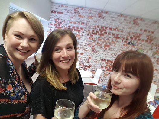 Vicki, Louise and Christine Celebrate in the Aquarium